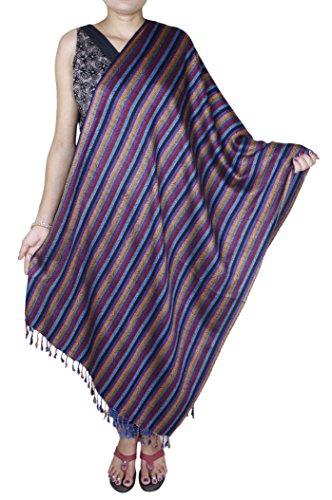 Donne di modo delle ragazze - strisce morbida sciarpa di seta indiana avvolgere scialle inverno -214 x 76 cm