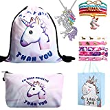 RHCPFOVR Unicorn Gifts for Girls 6 Pack - Zaino con un cordoncino e unicorno Borsa per trucco/Collana pendente con unicorno/Bracciale unicorno/Fascette per capelli/Bracciale unicorno