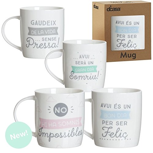 Dcasa - Set 4 taza ceramica catala en caja de regalo
