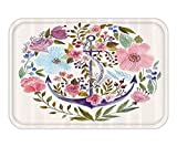 VICKKY Doormat Nautical Decor Floral Bouquet with Anchor Figure Nature Bloom Inspired Romantic Sea Love Concept Fabric Bathroom Decor Set with Hook Multi 23.6 W X 15.7 W Inches