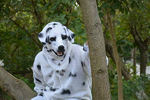 ZhengFei Beweglicher Mund-Kunstpelz-Erwachsener Kostüm-Maske-Mundbewegungs-Dalmation-Maske für Partei Animal Masks Kids (Color : White, Size : 25 * 25) (Childs Dalmation Kostüm)