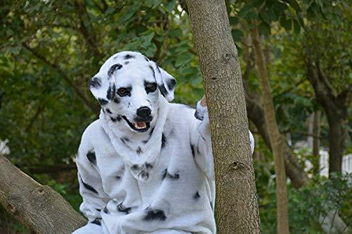Tierkopfbedeckung Maske Tier Headwear Heißer Verkauf Echt Maske Handgefertigte Benutzerdefinierte Dalmatiner Bewegung Mund Simuliert Tiermaske mit Pelz Dekoration Halloween und Party Karneval Spaß Mas