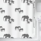 Spirella Anti-Schimmel Duschvorhang Serengeti Elefanten Anti-Bakteriell, waschbar, wasserdicht Polyester 180x200cm
