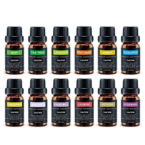 Essential Oils 12 x 10ml Set of Aromatherapy Essential Oils Massage Oil Kit for Foot Bath to Relieve Stress and Relieve Stress - Manual Air-relief