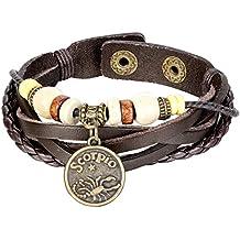 JewelryWe Pulsera unisex ajustable con 12 botones de signos del zodiaco, cuero, aleación y madera, color negro