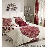 ZEDWarehouse Manhattan Parure de lit double 3pièces avec taies d'oreiller Crème/rouge