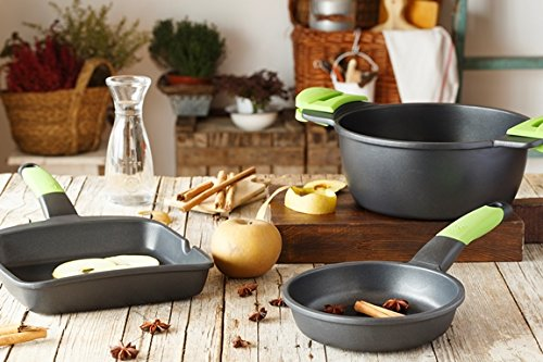 Bra Prior - Olla Alta con Tapa de Cristal y Asas de Silicona, 24 cm, Aptas para Todo Tipo de Cocinas Incluida Inducción
