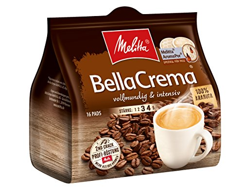 Melitta gemahlener Röstkaffee in Kaffeepads, 16 Pads, 100% Arabica, vollmundig und intensiv, Stärke 3 bis 4, BellaCrema
