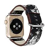 Yaku Floral Cuir PU Apple Watch Band 38mm, Sangle de Remplacement Montre Bracelet Band pour Apple Série 1Série 2Montre iWatch (Noir et Fleur de Cendre, 38mm), Noir/Blanc, 38 mm