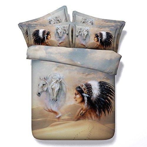 Modal-baumwoll-bettwäsche (KTLRR Indianer mit Wolf-Größe Bettwäsche-Set (Bettdecke), Weiß, mit Lady Modal, Baumwolle, Bettwäsche, Bedclothes Schlafzimmer-Dekor, Pferd, Super King(102