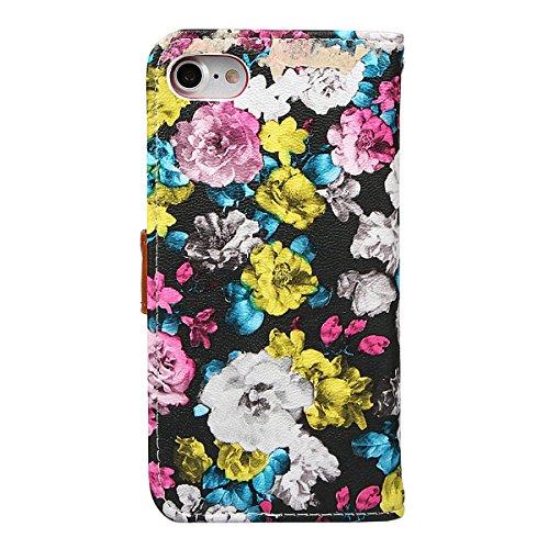 """xhorizon FM8 Blumenmuster Leder Brieftasche Fall Mit Perfektion Prime Design für iPhone 7 (4.7"""") Rose+Stahlfolie"""
