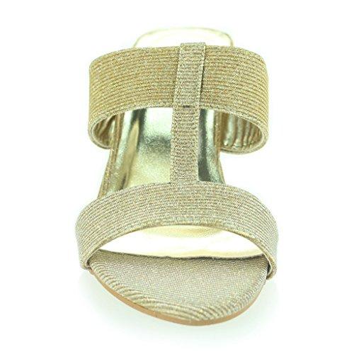 Frau Damen Schimmernd Funkeln T bar Schlüpfen Blockabsatz Abend Lässig Party Sandalen Schuhe Größe Gold