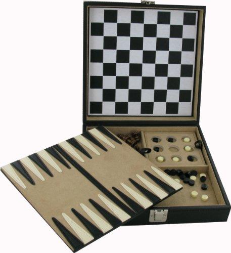 5 In 1 Tragbar Spiele Set Eingeschlossen In Luxus Leder-etui (22 X 22,5 X 6.5cm)