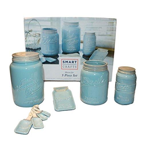 NEU! Blue Mason Jar Keramik-Küchen-Set, 5-teilig Dieses Set enthält stapelbare Messbecher, Messlöffel, Löffelablage, Utensilienbehälter und Keksdose. Vintage Blue Mason Jar