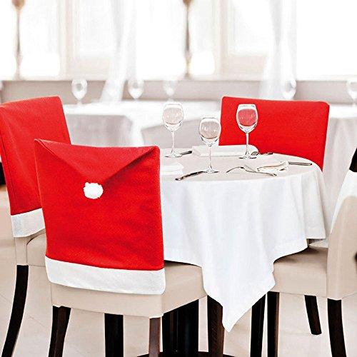 Missley Packung mit 6 Red Santa Hat Dining Chair Sitzbezüge Weihnachtsweihnachtsparty -Deko-Set (6PCS)