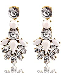 Glitz Womens Trendy Collection White Crystal Alloy Dangle And Drop Earrings For Women
