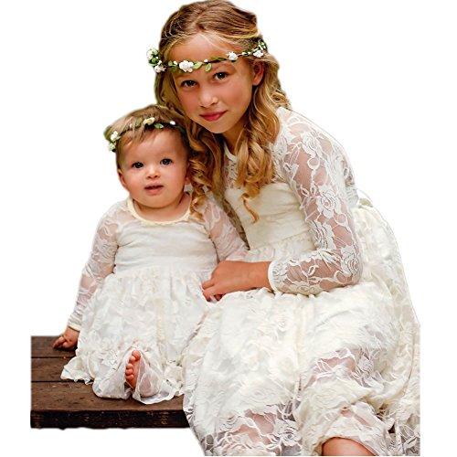 CQDY Prinzessin Spitzenkleid für Mädchen Weiß Hochzeit Blumen Kleid Partykleid mit großen Bogen (Kleid Shop Kommunion)