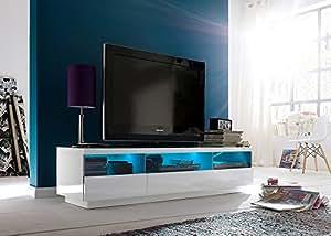 Jumbo-möbel floyd meuble tV bas blanc brillant avec éclairage lED