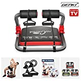 GENKI Core Smart Body AB Toning Work out Crunch Machine Fitness Trainer Home Gym Equipment with Resistance Straps, Exercise DVD, Poster (Red)