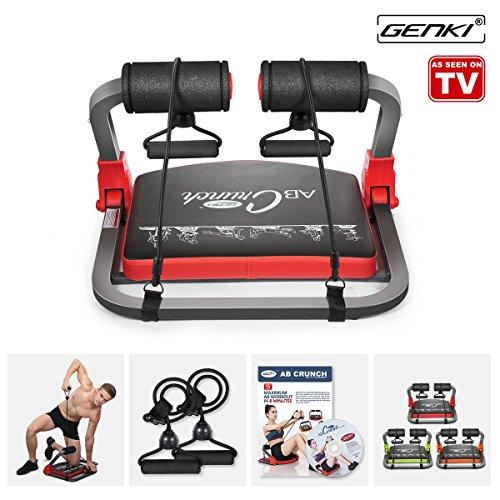GENKI Core Smart Body AB Toning Work out Crunch Machine Fitness Trainer Home Gym Equipment with Resistance Straps, Exercise DVD, Poster (Red
