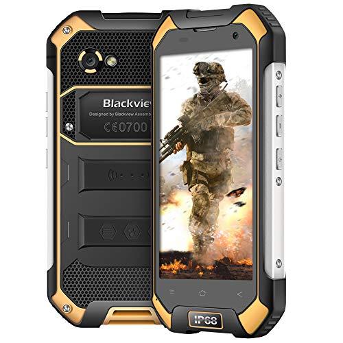 Blackview BV6000S Rugged Phone, 4500mAh 16GB ROM+2GB RAM,4.7''HD Pantalla telefonos ip68,8+2MP Camera,Quad-Core 1.5GHz Moviles Resistentes,Dual SIM Moviles Rugged WiFi/GPS/NFC/Bluetooth Amarillo