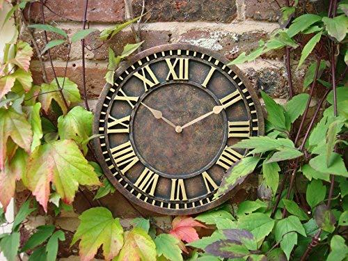 Wanduhr, handbemalt für drinnen und draußen oder den Garten, Kirchenuhr-Stil, rostrot, 30cm (Wetterfeste Uhren)