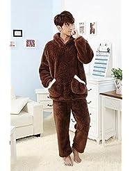 &zhou Parejas pijama ocio invierno pijamas gruesos casa ropa con capucha , brown male , l