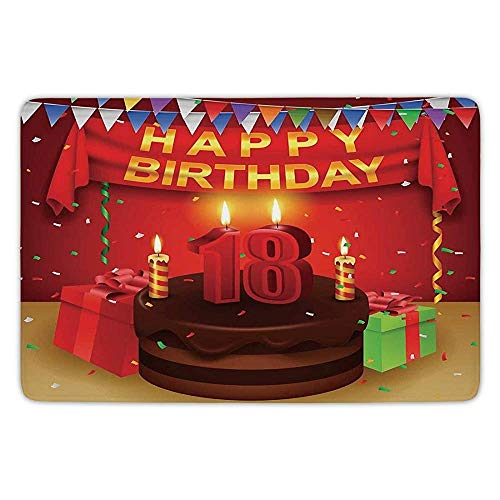 Burgundy Soft-vinyl (XIAOYI Bathroom Bath Rug Kitchen Floor Mat Carpet,18th Birthday Decoration,18 Happy Birthday Party with Curtains Cakes Baloons Image,Red and Burgundy,Flannel Microfiber Non-Slip Soft Absorbent)