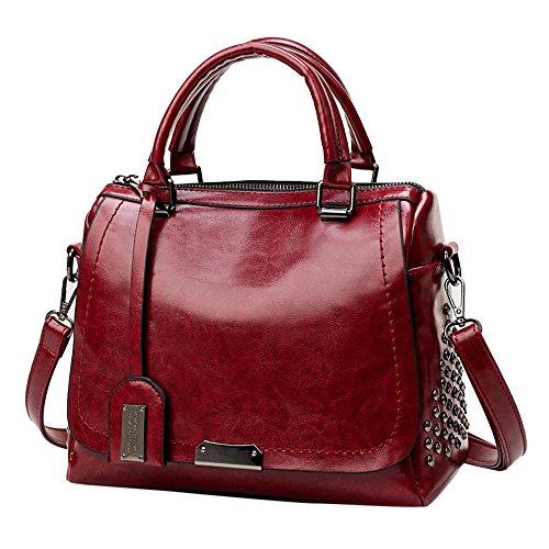 Beikoard borsa a tracolla per borsa a tracolla con copertina rigida a contrasto moda donna(vino)