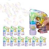 Relaxdays 10 x Seifenblasenpistole LED, mit Seifenblasenlösung, inkl. Batterien, handlich, für Party, Bubble Machine, transparent