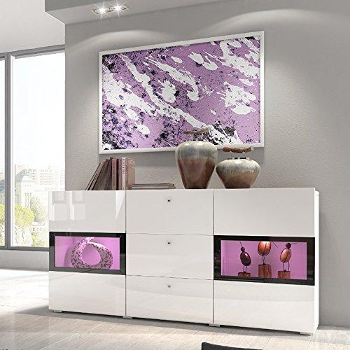 Selsey Baros - Sideboard/Kommode in Weiß Hochglanz mit LED RGB und Farbwechselfunktion 132 cm
