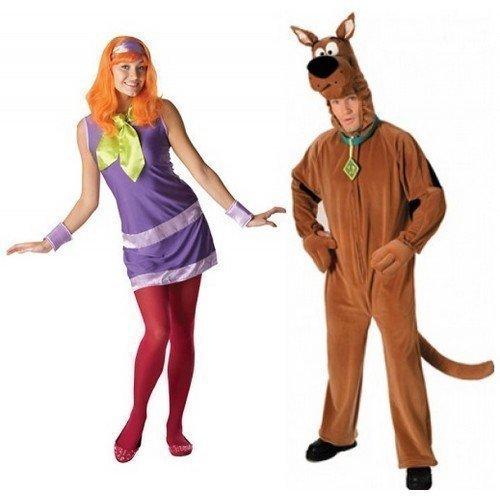 Erwachsene Daphne Kostüme (Damen UND Herren Paare Daphne Scooby Doo 1960er 60er TV Film Verkleidung Modisches Kostüm - Damen EU 40-42 & Herren-Einheitsgröß,)