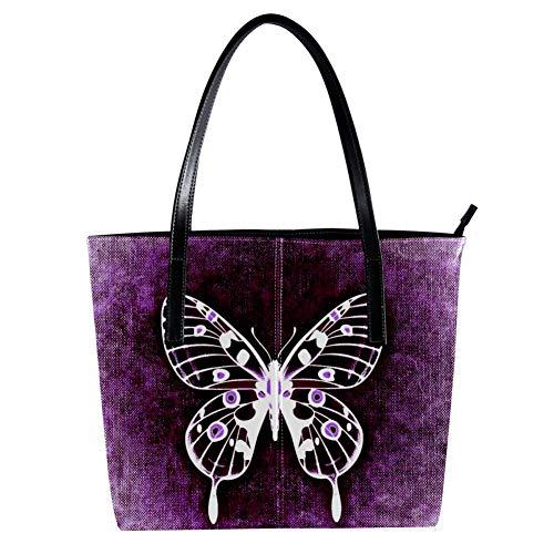 Women's Bag Shoulder Tote handbag with Purple Butterfly print Zipper Purse PU Leather Top-handle Zip Bags -