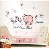 WandSticker4U - pegatinas pared decorativas: Baby Oso Con Flores rosa | Efecto : 100x75 cm | Teddy Oso Corazón- Love you every day | adhesivos pared para de los Niños Salón Bebés Niños