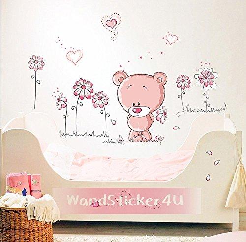 wandsticker4u-da-parete-baby-orsetto-in-rosa-immagine-effetto-100-x-75-cm-motivo-teddy-bambino-soppo