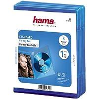 HAMA Custodia per Blu-Ray Disc, 3 Pezzi, Blu