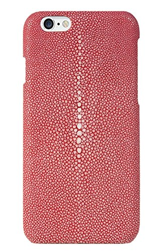 Minifamily® Genuine Polierte Stingray Manta Ray Leder Shell Tasche für iPhone 6 / 6s / 6 Plus 5,5 Zoll / iPhone 7/7 Plus 5,5 Zoll (iPhone 7 Plus 5,5 Zoll, Rote) - Genuine Stingray Haut