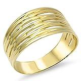 Goldring Massiv Silber 925 Damen Band - Ring - Breiter - 585 Gelbgold vergoldet Gr 48 bis 62 (61 (19.4))