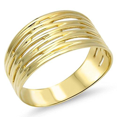 Goldring Massiv Silber 925 Damen Band - Ring - Breiter - 585 Gelbgold vergoldet Gr 48 bis 62 (60 (19.1))