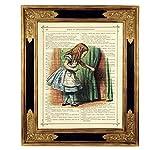 Alice im Wunderland Vorhang Poster Kunstdruck auf antiker Buchseite Kinderzimmer Deko Geschenk Bild ungerahmt