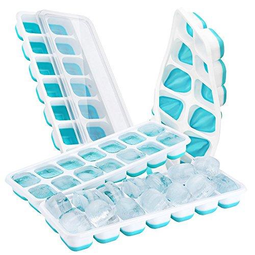 Kulino Set Bestehend aus 4 Eiswürfelformen mit Deckel in Blau, Silikon, 4cm x 3cm x 2,5cm,