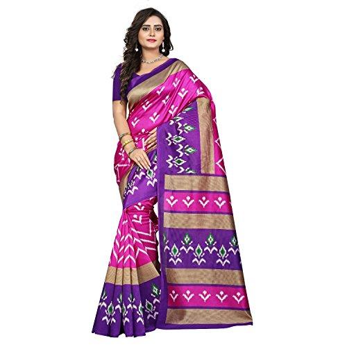 Jaanvi Fashion Women's Art Silk Ikkat Patola Print Saree (Pink)