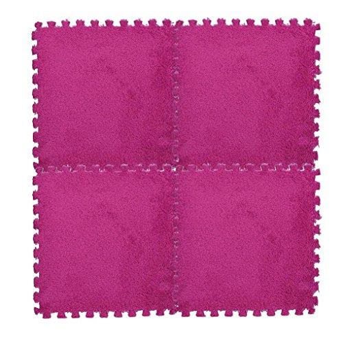 Sannysis 30 * 30 cm Niños Alfombra Espuma Puzzle Mat EVA Lanudo Velvet Baby Eco Floor Puzzle/Rompecabezas para cubrir el suelo Alfombra puzzle para niños con bordes lisos (F)