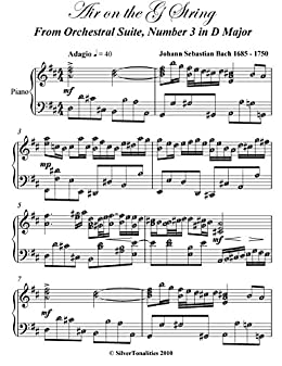 Air on the G String JS Bach Intermediate Piano Sheet Music
