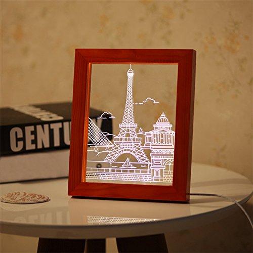 Zhuhaixmy 3D Creativo LED Legno+Acrilico Foto Cornice Notturna Luce Decorazione Table Scrivania Lampada Torre Immagine Rosso