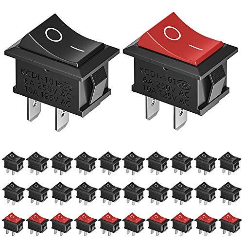 KeeYees 30 Stücke Kippschalter AC 6A / 250V 10A / 125V, 20 Stück 2-Polig Boot Schwarz Schalter + 10 Stück Rot SPST Ein/Ausschalter