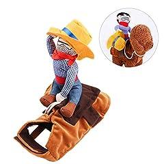 Idea Regalo - RCRuning-EU Pet Costume Dog Costume Vestiti Pet Outfit Vestito Stile Cowboy Rider, Adatti per Cani di Peso Inferiore a 12g- Misura M