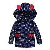 XXYsm Mantel Winter Baby Mädchen Polka Dots Jacke mit Kapuze mit Ohren Warme Steppjacke Dunkelblau ❤90/18-24 Monate