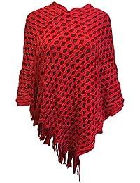 Ladies Knitwear Thick Soft Poncho Cape Wrap Shawl Jumper Women Ponchos In Red White Cream Beige & Orange