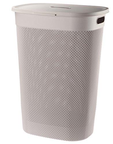 FILO Wäschebox mit Deckel 55L, Plastik Wäschekorb, Wäschesammler aus Kunststoff, Wäschebox 60x44x34cm, Wäschetonne (Beige)